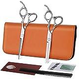 Ciseaux de Coiffure Ciseaux à Désépaissir Kit Ciseaux Cheveux Professionnels en Acier Inoxydable 17.2cm avec Peigne ELEHOT