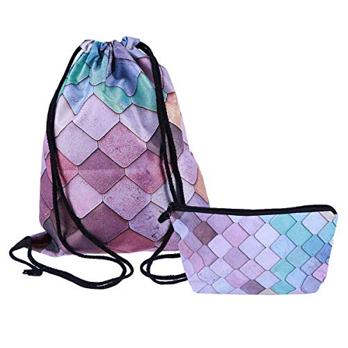 LUOEM Ensemble de sac à cordon et porte-monnaie Ensemble de sacs de rangement à dessin mignon pour femme