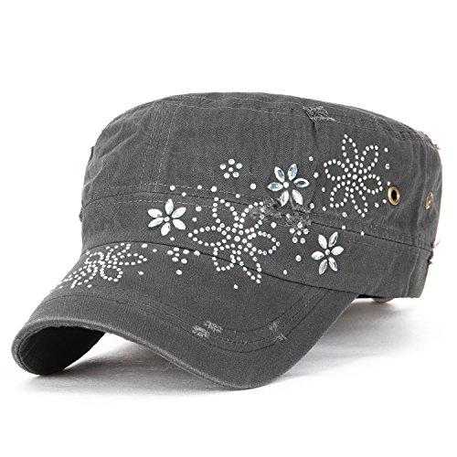 ililily Kristall Gemstone Stollen Blumenmuster klassischer Stil Baumwolle Militär Armee Hut Kadett Cap, Charcoal Grey