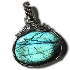 Blue Green Flashing Labradorite Pendant, Silver