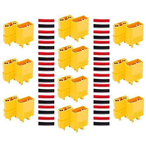 LHI XT90 Battery Connector Set for RC Lipo Battery Motor 10 Pairs Yellow ,10 Male Connectors + 10 Female Connectors