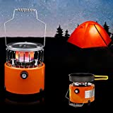 Roeam Portable Gas Heater, 2 in 1 2000W Portable Propane Heater Camping Stove Heating Cooker for Cooking Backpacking Ice Fishing Camping Hiking Tent Heater
