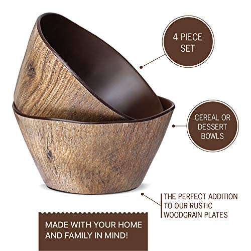 Craft and Kin Melamine Dinnerware Set - Melamine Bowls 4 Pcs Outdoor Dinnerware Melamine Set Ideal Camping Dish Set (Woodgrain) (BOWLS)