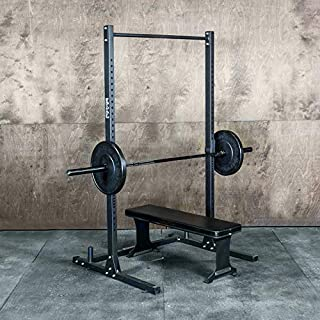 Squat Rack with Pullup Bar / 4' x 4' Footprint - 450lb Weight Capacity/Weightlifting Equipment for Squat, Bench, Pullups & More