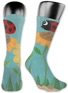 JONINOT, 2 paquetes de calcetines deportivos ligeros y cómodos de 40CM, novedad, divertidas, mariquita, girasol, lindas medias largas