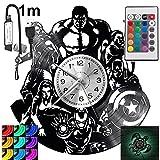 Avengers RGB LED Pilot Reloj de pared para mando a distancia, disco de vinilo moderno decorativo para regalo de cumpleaños