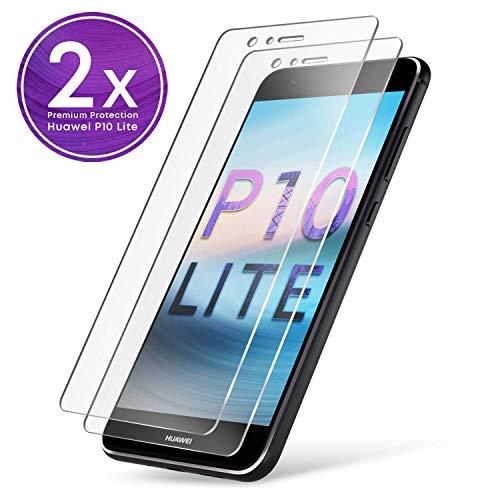 UTECTION 2X Schutzglas Folie für Huawei P10 Lite - Schutzfolie aus Glas gegen Bildschirmschäden - Passgenaue Schutzglasfolie Anti Kratzer - Bildschirmschutzfolie Schutzglas Clear Durchsichtig