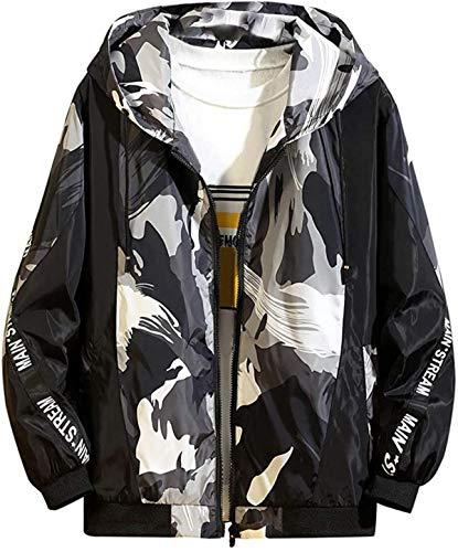 DamonRHalpern Men's Autumn Casual Fashion Color Collision Hoodie Thin Jacket Zipper Coat
