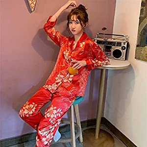 Shability Long Sleeve Silk Pajamas Set Flowers Print Sleepwear Set Autumn Winter Women Nightwear Casual Home Cloth Soft Pajamas for Women yangain (Color : C HS 1220 Women, Size : Large)