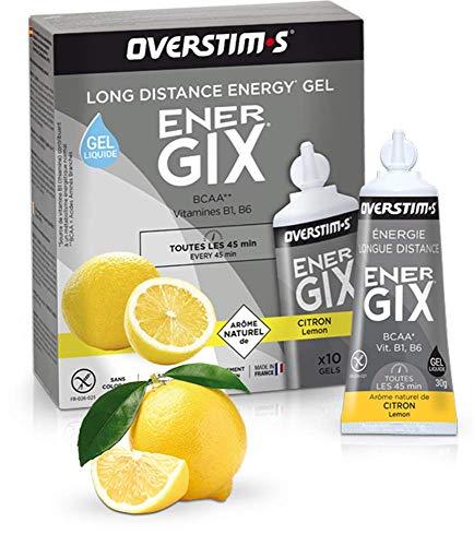 OVERSTIM.s - Energix (10 Geles) - Limón - Gel Energético De Resistencia Para Distancias Largas - Bcaa - Textura Líquida - Sabores Naturales - Sin Conservantes 300 g