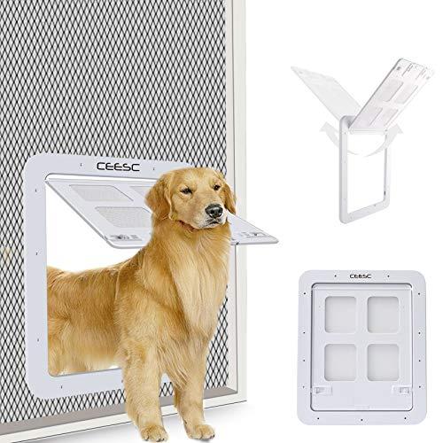 CEESC Puerta mosquitera para Perros (tamaño Exterior 43 cm x 37 cm), Puerta mosquitera para Mascotas con Cerradura para Perros y Perritos, Puerta para Perros para Puerta mosquitera (L, Blanca)