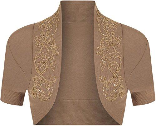 Lush Clothing B69 Bolero / Strickjacke, 100 % Baumwolle, mit Pailletten, Perlen, kurze Ärmel, Mokka, M/L