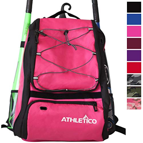 Athletico Baseball Bat Bag - Backpack for Baseball, T-Ball & Softball Equipment & Gear for Youth and Adults | Holds Bat, Helmet, Glove, Shoes | Shoe Compartment & Fence Hook (Magenta)