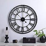 Große Retro-Wanduhr aus Metall, leise, nicht tickend, batteriebetrieben, Vintage, römische Ziffern, rund, moderne Uhren für Wohnzimmer-Dekoration