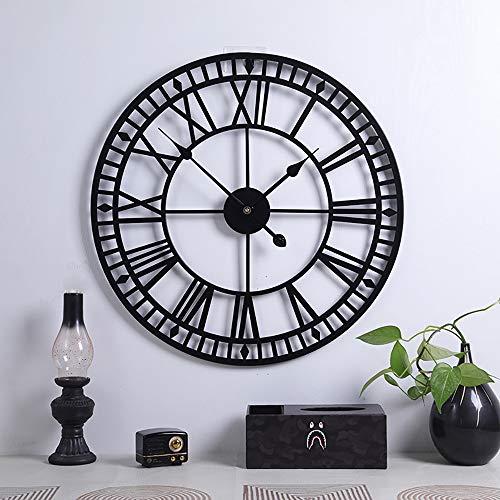 Große Retro-Wanduhr aus Metall, leise, nicht tickend, batteriebetrieben, Vintage, römische Ziffern, rund, moderne Uhren für Wohnzimmer-Dekoration, Schwarz, 40 cm
