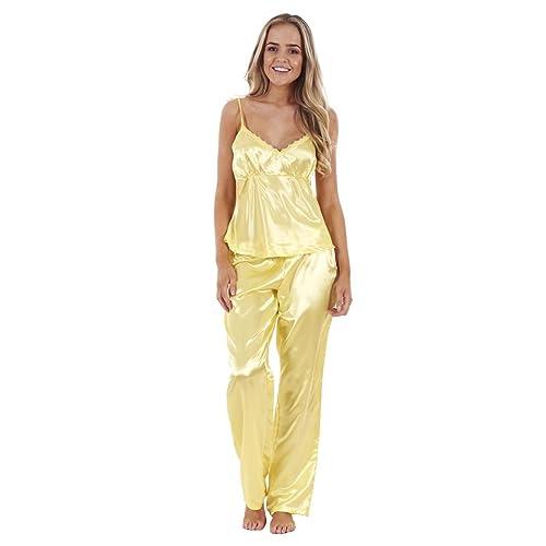 Ladies 3 Piece Satin Pyjama Set Womens Vest Lace Shorts PJ s Nightwear 8069948ca