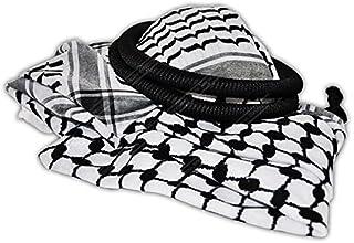 Black & White Middle Eastern Arab Kafiya Keffiyeh with Aqel Rope