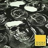 Jersey-Stoff mit Totenköpfen und Rosen, bedruckt, Stretch,
