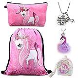 DRESHOW Unicorn Drawstring Backpack Make Up Bag Collar inspirador para niñas