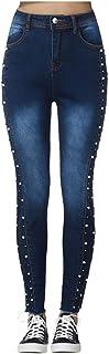 AOGOTO - Jeans da donna a vita alta, modello Curvy, con bottoni strappati