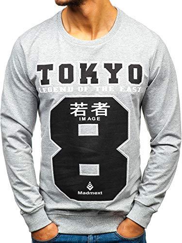 BOLF Herren Sweatshirt Rundhalsausschnitt Pullover Print Sport Style Madmext 1221 Grau XL [1A1]