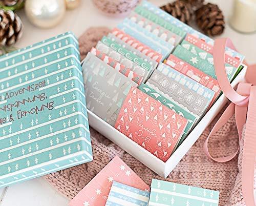 Tee Adventskalender - entspannte Auszeit -Adventskalender fertig befüllt mit BIO Tee in einer Box zum verschenken für Mama, Oma, Mitarbeiter, Freundin