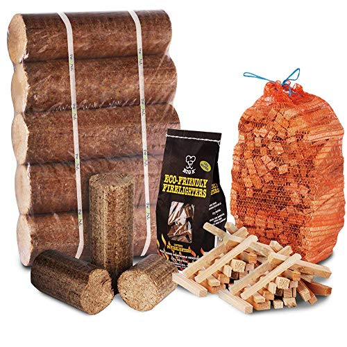 Winter Bonfire Fire Pit Chiminea Starter Pack Large Wood Heat Fuel Logs, 3kg Kindling + Eco FireLighters - Comes with THE LOG HUT Woven Sack.
