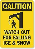 安全標識-注意-氷と雪の落下に注意してください。 金属スズサインUV保護および耐候性、通知警告サイン