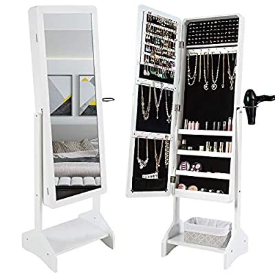 CHARMAID Standing Jewelry Cabinet with Full-Length Mirror, Jewelry Armoire with Hair Dryer Rack for Bedroom, 4 Angle Adjustable, Large Storage Capacity Jewelry Organizer Cabinet (White)