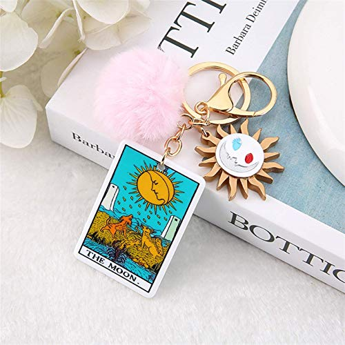LKITYGF Perfect Key chain 1PC Keyring Tarot Card Sun And Moon Acrylic With Puffer Ball For Men Women Keychain Trinket Car Key Ring Jewelry (Color : Gray)