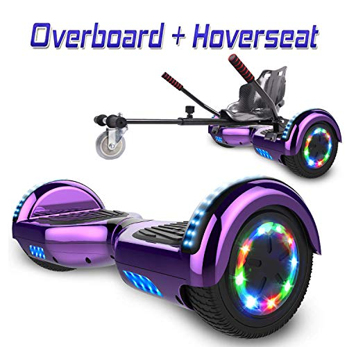 COLORWAY 6,5 Zoll Hover Scooter Board Elektro Skateboard Elektro Scooter Smart Self Balance Board - Bluetooth - LED Räder - 350W*2 Motor + Hoverkart (Violett+Kart)