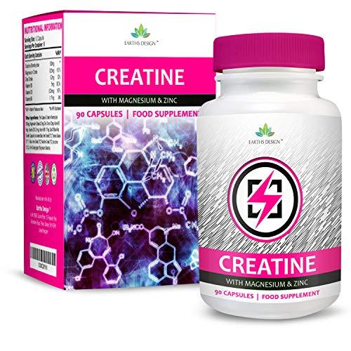 Creatina - Monohidrato de Creatina con Magnesio, Zinc, Vitamina B6-90 Capsulas de Earths Design