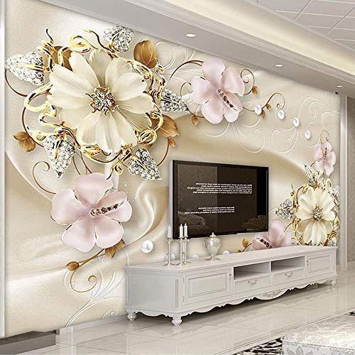 QHDHGR Fotomural para Paredes Patrón de flores hecho a mano Mural Papel Pintado Decoración comedores, Salones, Habitaciones 350 x 256cm(anchura x altura)