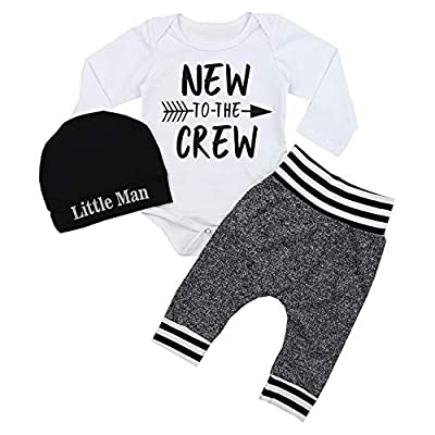 Newborn Baby Boy Clothes New to The Crew Letter Print Romper+Cotton Pants+Hat 3PCS Outfits Set 0-3 Months White