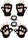 2 Pairs Cat Paw Handschuhe Soft Winter Fingerless Mitten Handschuhe Halloween Cosplay Kostüm Kunstpelz Plüsch Handschuhe Paw Fingerless Winter Plüsch Handschuhe für Mädchen Frauen (Schwarz) -