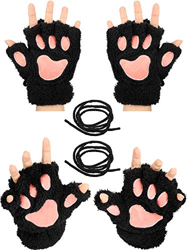 2 Pairs Cat Paw Gloves Soft Winter Fingerless Mitten Gloves Halloween Cosplay Costume Faux Fur Plush Gloves for Girls Women, Black and Pink, 21.5 x 15