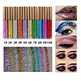 10 Colors Liquid Glitter Eyeliner Metallic Shimmer Glitter Eyeshadow Pigment Eyebrown Shimmer Waterproof Face Lips Art for Party Festival Makeup