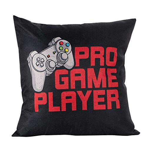 Arundeal Decorative Throw Pillow Case Cushion Cover, 18 x 18 Inches, Video Game Controller, for Gamer Gaming Lover Gift Chair Bed Sofa Couch Boys Room Decor