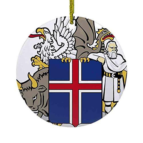 8 NBNWDHI Ceramic Ornaments - Iceland Coat of Arms Ornament (Round) Round Holiday Christmas Ornament| Cute Santa Gift| Xmas Tree Decoration 2.8in