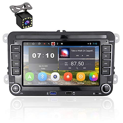 Android 10.0 2-Din-Autoradio für VW TOURAN Passat Golf Skoda 7-Zoll-1080P-HD-Touchscreen MP5-Player-Unterstützung GPS-Navigation AUX, 2 USB, Bluetooth, FM, Spiegelverbindung + Rückfahrkamera