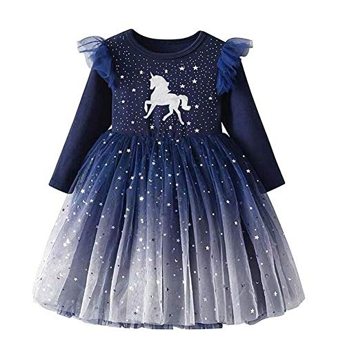 DXTON Baby Girl Winter Children Long Sleeve Flower Dresses Outfits for 2-8T LH4995 6t