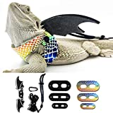 WATFOON 9 Pack Bearded Dragon Leash Lizard Reptile Leather Harness with Wings for Amphibians Crested Leopard Gecko Anole Chameleon Guinea Pig Ferrets Hamster Walking (Rainbow)