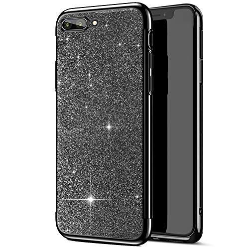 UltraDünn Hülle Kompatibel mit Tasche Huawei Honor View 10 Hülle,Bling Glänzend Glitzer Klar Transparent Überzug Bumper Weiche Silikon TPU Rückschale Handyhülle Durchsichtige Schutzhülle Hülle,Schwarz