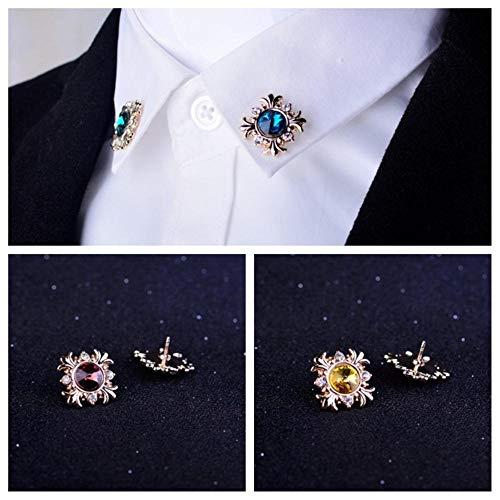 Piero Moda Uomo Cristallo Vestito Decorazione Spilla Bavero per Colletto Camicia con Spilla Strass Donna, Blu
