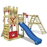 WICKEY Aire de jeux Smart Crown Portique de jeux avec toboggan et balançoires, extension d'escalade, plateforme et grande bac à sable, toboggan bleu + bâche rouge