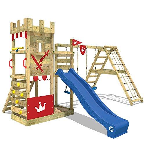 WICKEY Spielturm Smart Crown Spielplatz Kletterburg mit Rutsche und Schaukeln, Kletteranbau, extrabreitem Podest und großem Sandkasten, blaue Rutsche + rote Plane