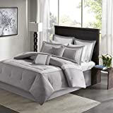 8 Piece Gray Victorian Comforter Set Cal King Size, Luxury Bedding Comforter Set, Solid Color Geometric Modern Contemporary White Stripe Embroidery Soft Cozy Comfy Stylish Elegant Neutral Palette