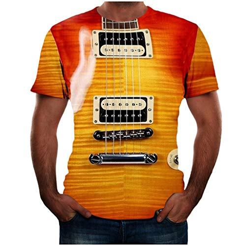 Yowablo T Shirt Sommer Poloshirt Tops Shirts Sommer T-Shirts Oberteile Männer Mode Lustige Gitarre 3D-bedrucktes T-Shirt Coole Sommer-Kurzarm (L,1Gelb)