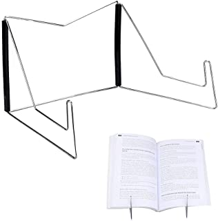 Book Stands,Fold-n-Stow Metal Bookstand,Music Book Easel Display Holder,Adjustable Reading Stand,Small Book Rest for Kitchen Counertops,Bookrest for Hardcover Textbook,Ipad,Cookbook,Recipe (Black)