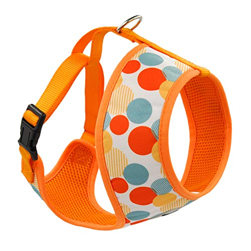 HugSmart - Dog Harness | Soft Air Mesh Adjustable Dog Harnesses | Cute Printed Step - in Harness with Neck Padded for Small Medium and Large Breeds (Dancing Dots, S 12.6
